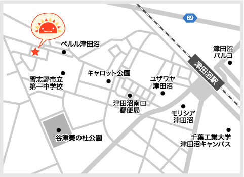 サンライズキッズ保育園 谷津園 周辺地図